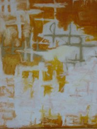 Larger photo of an Orange and white abstract with bits of yellow or sage green