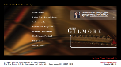Screen Shot of the Gilmore Website - Images On.