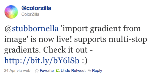@stubbornella 'import gradient from image' is now live! supports multi-stop gradients. Check it out - http://bit.ly/bY6lSb :)