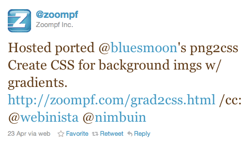 Hosted ported @bluesmoon's png2css Create CSS for background imgs w/ gradients. http://zoompf.com/grad2css.html /cc: @webinista @nimbuin